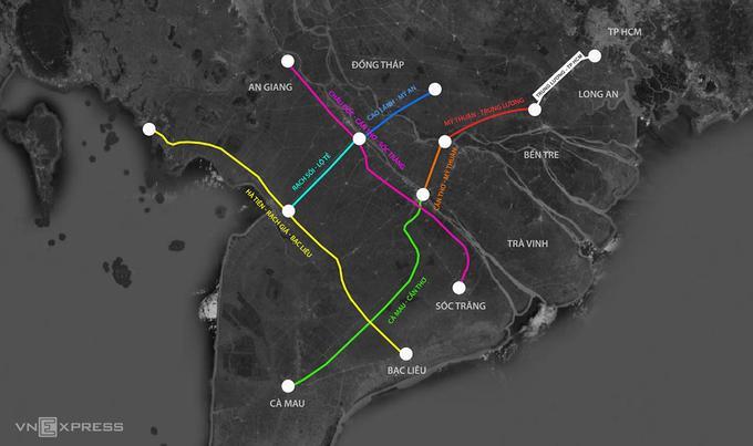 湄公河三角洲的7个高速公路项目。 图形:Thanh Huyen。