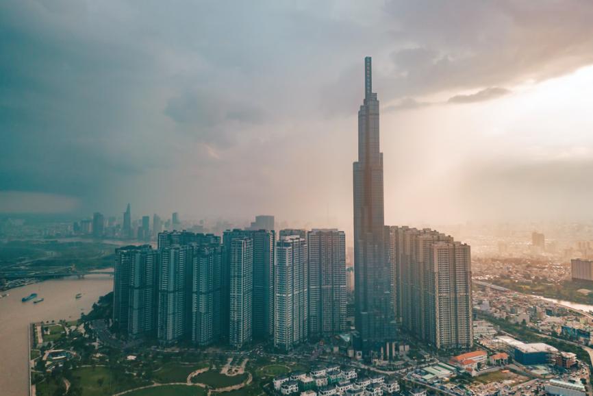 aerial photography concrete buildings